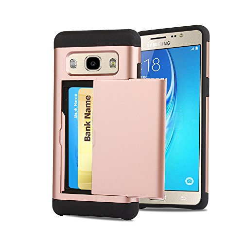 Galaxy J7 Case, Cellaria [Easy 2 Card Access] Sliding Back Door Card Holder Wallet Case - Hybrid TPU PC Cover - For Samsung Galaxy J7 J700 (2015), Rose Gold (Sliding Door Cases)