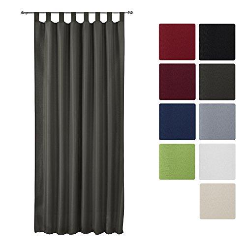 Beautissu® Blickdichter Schlaufen-Vorhang Amelie - 140x175 cm Anthrazit (Grau) Uni - Dekorative Gardine Schlaufenschal