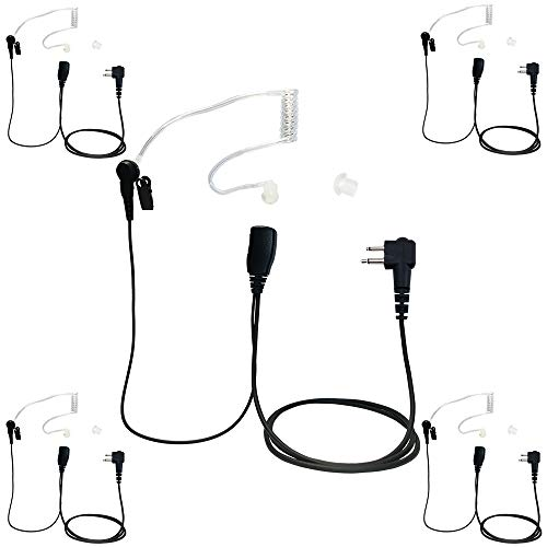 (Two Way Radio 1-Wire FBI Acoustic Headset Earpiece for Motorola CP100 CP200 CP300 (5-Pack))