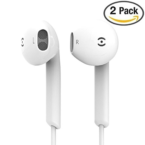 Earbuds, 2 Pack Supcibel iPhone Stereo Earphones 3.5mm jack In-Ear Wired Headphones With Microphone and Remote Control for iPhone 6s 6 5s 5 Plus 5c SE