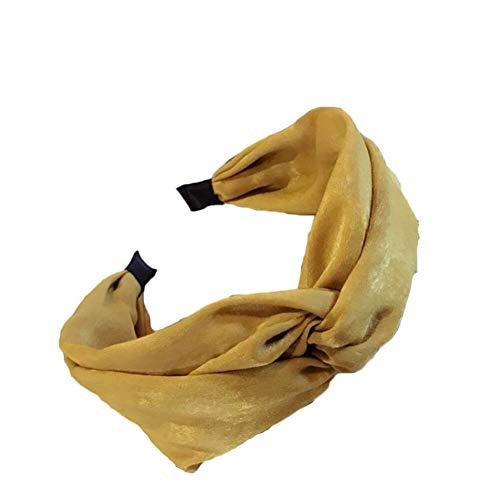 (Head hoop Womens Headband Twist Cross Hair Band Wide Side Solid Bowknot Cloth (Color - yellow))