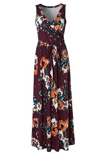 Zattcas Womens Bohemian Printed Wrap Bodice Sleeveless Crossover Maxi Dress … by Zattcas