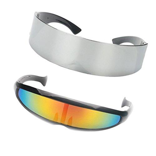 D DOLITY 2X Gafas de Sol Estrecho Metalizado Futurista ...