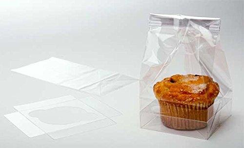 (ClearBags Clear Holiday Cupcake Bags | Favor Bags for Christmas Treats Cupcakes Muffins | Holiday Parties Weddings Bakery | Holds 1 Jumbo Cupcake | 100)