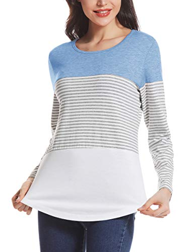 AUPYEO Women's Long Sleeve T Shirt Loose Fit Color Block Stripe Tee Tops Casual Blouse Light Blue ()