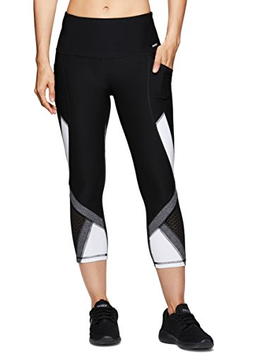 RBX Active Women's Workout Gym Mesh Yoga Mesh Yoga Leggings Colorblock White ()