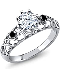 Sterling Silver White Created Sapphire & Black Diamond Womens' Ring (1.31 cttw, Available in size 5, 6, 7, 8, 9)