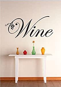 Vinyl Wall Decal Sticker : Wine Grapevine Kitchen Dining Image Quote Bedroom Bathroom Living Room Picture Art Peel & Stick Mural Size: 12 Inches X 30 Inches Color: Black