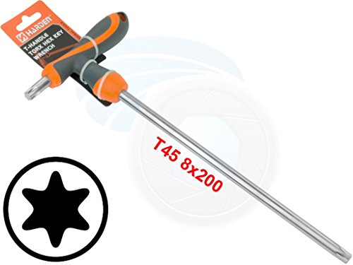 - T45 T-Handle Torx Torque 6 Point Star Key CRV TPR Screwdriver Wrench