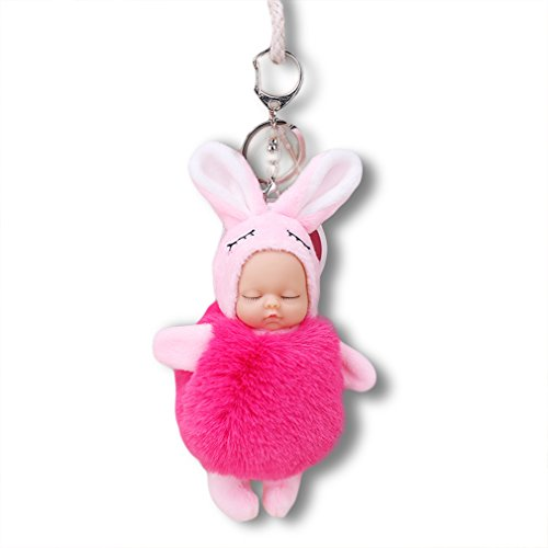 Youngate Baby Boll Plush Keychain Fluffy Ball Car Phone Handbag Pendant Keyring Ornament pink