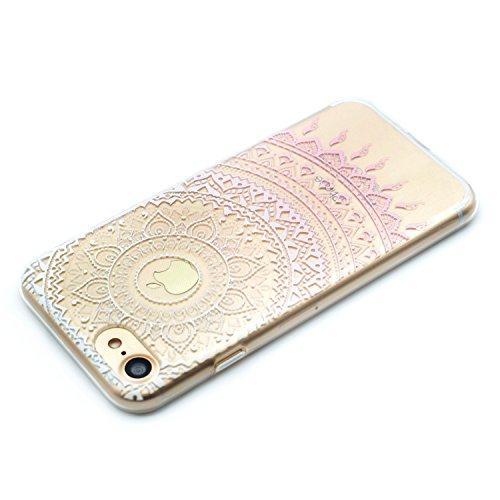 iPhone 6 6S Coque , Leiai Mode Transparent Fleur rose Ultra-mince Clear Silicone Doux TPU Housse Gel Etui Case Cover pour Apple iPhone 6 6S