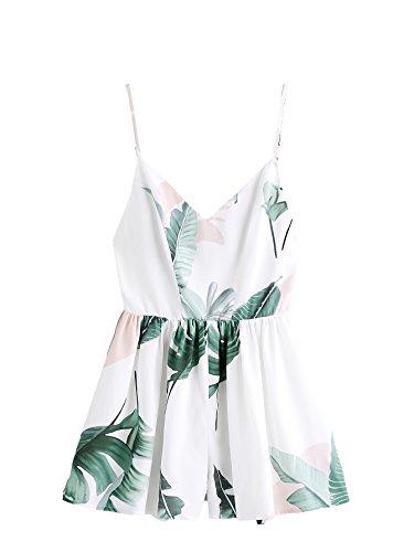 SweatyRocks Women's Sexy V Neck Floral Printed Spaghetti Strap Beach Romper Shorts Jumpsuit White Leaf XS