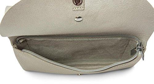 styleBREAKER bolso de mano clutch en estilo sobre, bolso de fiesta con solapa doble, elemento de metal en el cierre, correa para el hombro y asa, bolso, de señora 02012159, color:Negro Beige