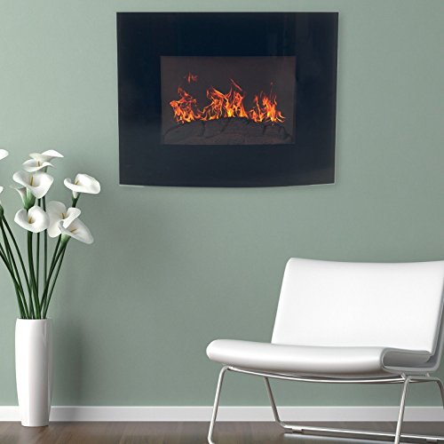 Cheap Black Curved Glass Electric Fireplace Wall Mount & Remote 25 x 20 Inch 1500W Black Friday & Cyber Monday 2019