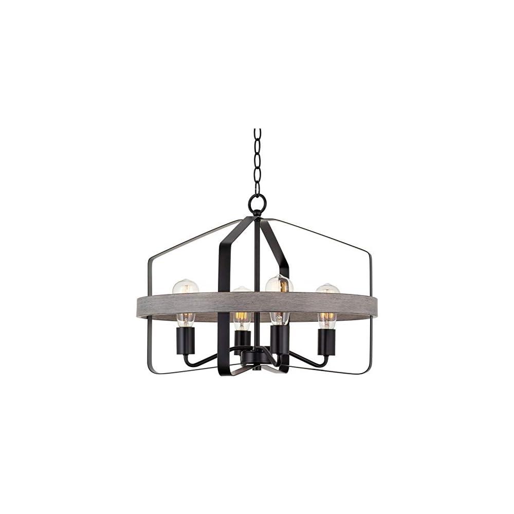 "Kira Home Ridgecrest 21"" 4-Light Farmhouse Pendant Chandelier, Gray Oak Wood Style + Black Finish"