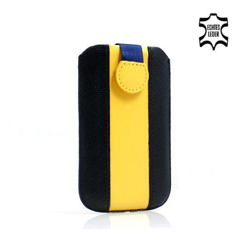 System-S Leder Tasche Etui Sleeve Case Hülle mit Rückzugfunktion Ausziehhilfe in Blau Gelb Schwarz für Apple iPhone 5
