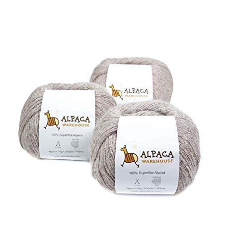 100% Alpaca Yarn Wool Set of 3 Skeins Fingering Weight (Antique ()