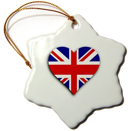 - Ornaments to Paint _ British Flag Heart Uk Union Jack for England and Great Britain Fans Snowflake Ornament, Porcelain, 3-Inch