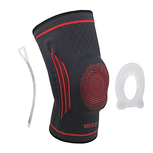 YEEGOR Knee Brace Compression Sleeve - Knee Support Meniscus Tear Injury Recovery ACL Pain Relief Arthritis Running with Side Stabilizers for Men & Women Single