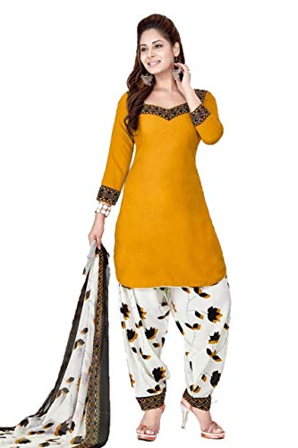 CRAFTSTRIBE Women Printed Suit Polyester Unstitched Salwar Kameez Dress Material for Party ()