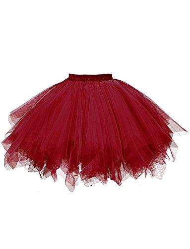 BeiQianE Femmes des annes 50 Vintage Petticoat multicouches jupes courtes sous-jupes Crinoline Ballet Bubble Tutu jupe Bourgogne