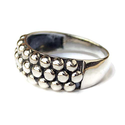 Right Hand Rings for Women Sterling Silver Bubble Ring Caviar Cocktail Band Ring Minimalist (Sterling Caviar)