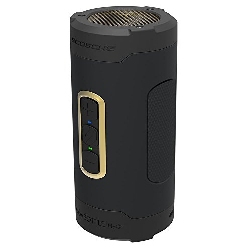 SCOSCHE BoomBottle H2O+ Rugged Waterproof Portable Wireless Bluetooth Speaker - 360-Degree 12 Watt 50mm Speaker with Subwoofer and Indoor/Outdoor EQ Functions - Black/Gold (BTH2PGD) by Scosche