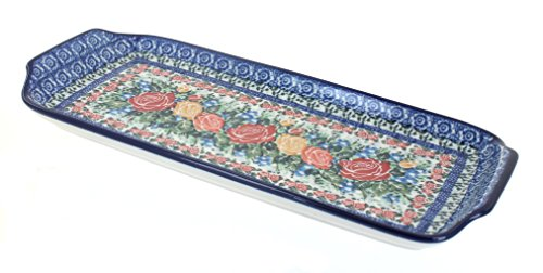 Polish Pottery Crimson Roses Bread Tray