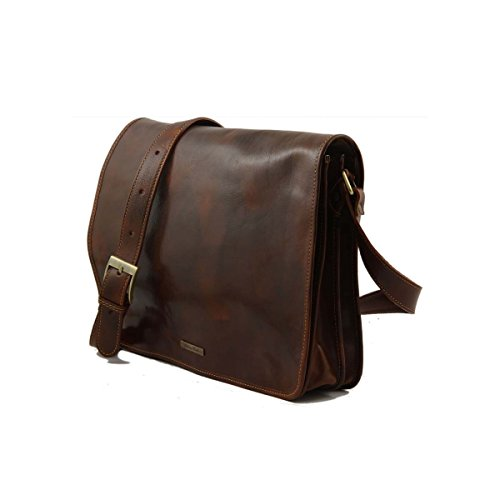 Tuscany Leather - Messenger double - Bolso freestyle en piel Marrón - TL90475/1 Marrón oscuro