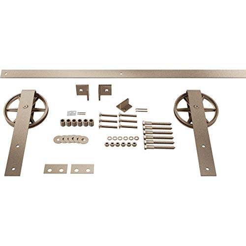 Goldberg Brothers Inc. GB600155HWWZ Premium Wagon Wheel Strap Set Barn Door Hardware, 60 Inch Track Length (for 2 1/4…