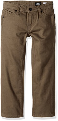 Cotton Belt Volcom (Volcom Little Boys' Vorta 5 Pocket Slub Slim Fit Pant, Mushroom, 7X)