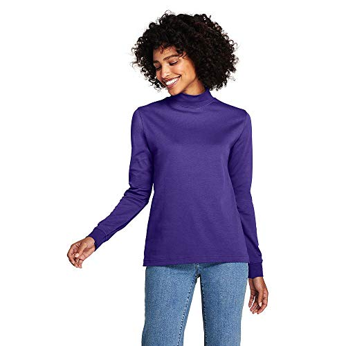Turtleneck Interlock Ladies Mock (Lands' End Women's Relaxed Cotton Mock Turtleneck, L, Ultra Violet)