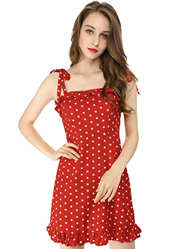 Allegra K Women's Polka Dot Spaghetti Strap Summer Ruffle Flare Mini Slip Dress Red L (US 14) ()