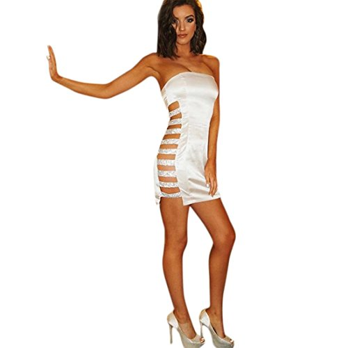 GONKOMA Women's Sequin Bodycon Evening Party Cocktail Mini Dress Strapless Night Out Dress Clubwear (S, White)