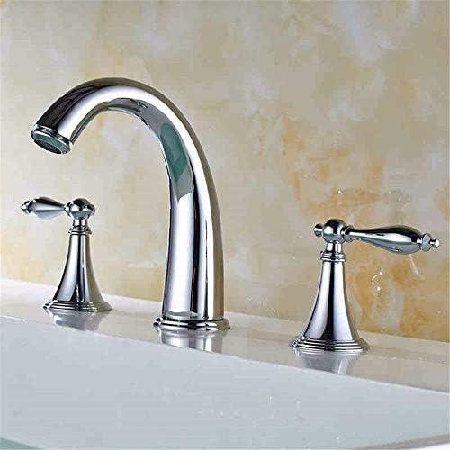 ゆば シンクミキサータップキッチンバスルームのシンクの蛇口漏れ防止の水保存クロムメッキデュアルつ穴ダブルスプリットブラス水で三Classic8Inch
