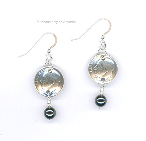 65th Birthday Jewelry Gift Ideas For Women 1953 Silver Dime Black Hemalyke Beaded Earrings