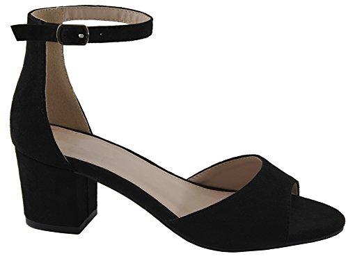 Cambridge Selezionare Donna Open Toe Fibbia Cinturino Alla Caviglia Grosso Blocco Avvolto Sandalo Con Tacco Nero Imsu