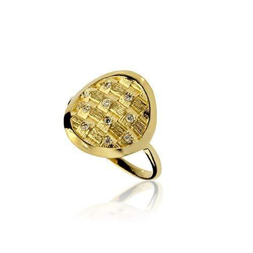 14k yellow gold basket weave artisan ring with diamonds