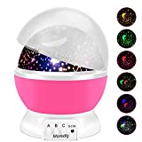 Moredig Night Light Lamp Projector, Baby Projector with 8 Colors and 360 Degree Moon Star Projection with 2 meters USB Cable, Unique Lamp for Children Pink
