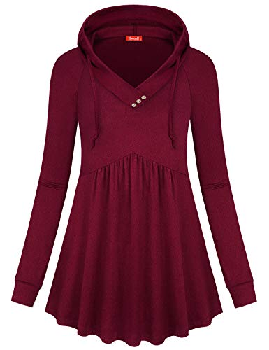 Blevonh Henley Shirts for Women,V Neck Hoodie Feminine Fall Classy Christmas Tunic Tops Long Sleeve A Line Loose Fitting Jersey Flattering Unique Hoody Sweatshirt with Leggings Wine L