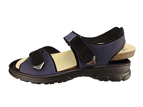 Algemare Damen Trekking Sandale Nubuk Leder waschbares Algen-Kork Fußbett 6478_0888 Sandalette Pantolette mit Wechselfußbett, Größe:43