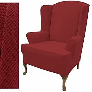 Amazon Com Stretch Pique Warm Maroon Wingback Chair