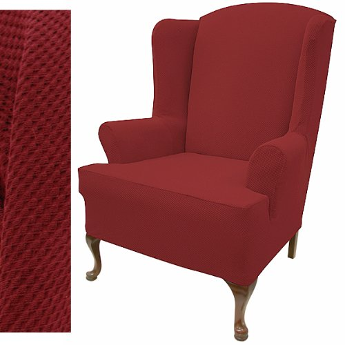 Stretch Pique Warm Maroon Wingback Chair Slipcover (Burgundy Wing Chair Slipcover)