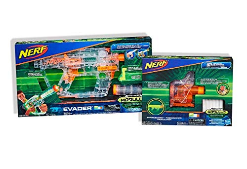 Nerf Modulus Ghost Ops Evader with 12 Darts, 12-Dart Clip, and Light-Up Barrel Extension Comes with ChronoBarrel