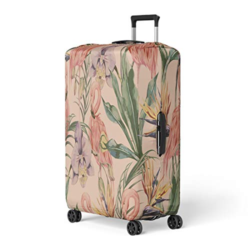 Pinbeam Luggage Cover Tropical Flowers Palm Leaves Jungle Plants Orchid Bird Travel Suitcase Cover Protector Baggage Case Fits 22-24 inches