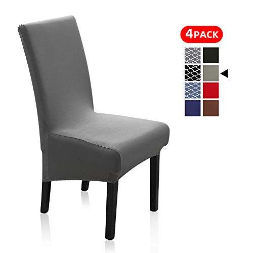 Stretch Dining Chair Slipcovers, XL/Oversized Removable Washable Soft Spandex Extra Large Dining Room Chair Covers for Kitchen Hotel Table Banquet Solid Color (4 Per Set, Gray)
