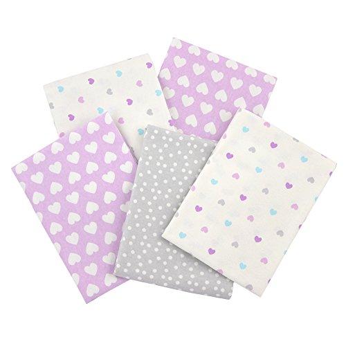 Gerber 100% Cotton Receiving Blankets, Purple Flannel, 5 (Hearts Flannel Receiving Baby Blanket)