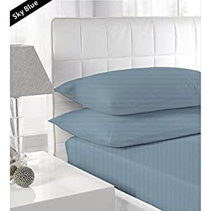 """{ 650 TC / STRIPE PATTERN }THREE {3} PCS FITTED SHEET FULL SIZE WITH 28"""" DEEP POCKET IN NEW SKY BLUE COLOR 100% EGYPTIAN COTTON"""