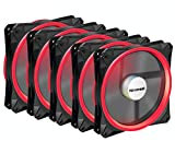 upHere Halo Ring Led 140mm case fan 5 PACK Hydraulic Bearing quiet cooling case fan for computer MIRAGE Color LED fan 3 pin with Anti Vibration Rubber Pads(Red)/14CMR3-5