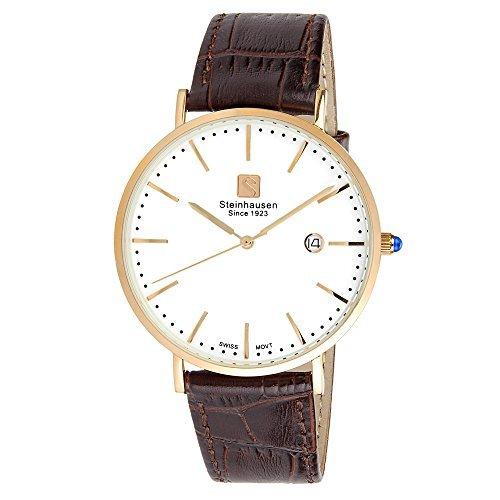 Steinhausen Men's S0522 Classic Burgdorf Swiss Quartz Stainless Steel Watch With Brown Leather (Gents Swiss Movement Watch)